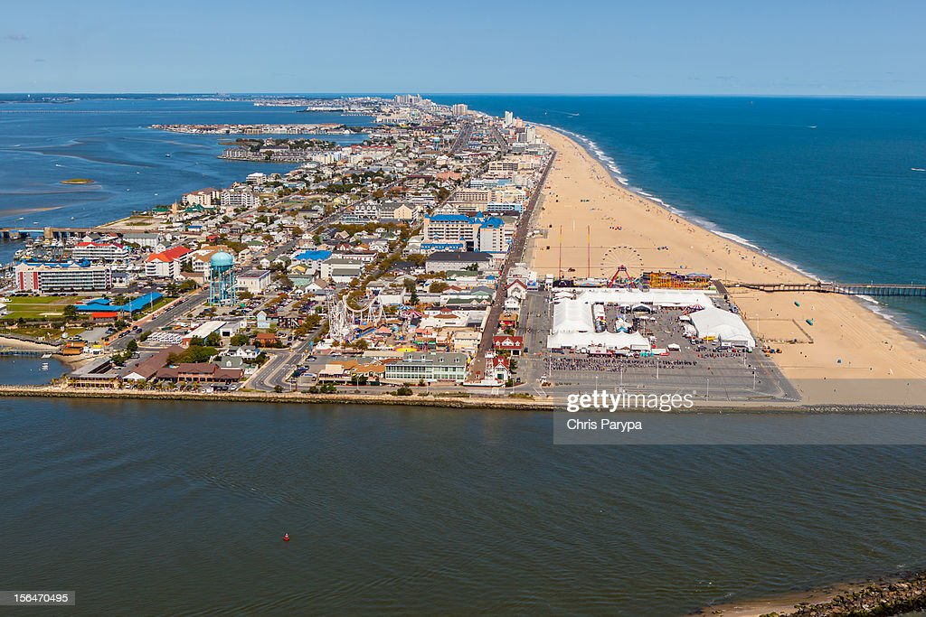 Aerial View Of Ocean City Md Stock Photo Getty Images