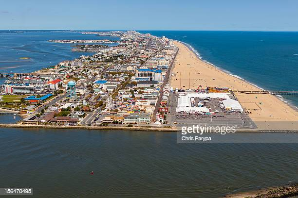 aerial view of ocean city, md - ocean city maryland stock pictures, royalty-free photos & images
