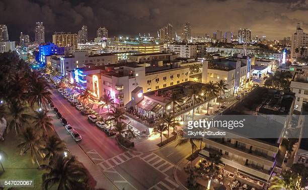 Aerial view of Ocean Drive, South Beach, Miami, Florida, USA