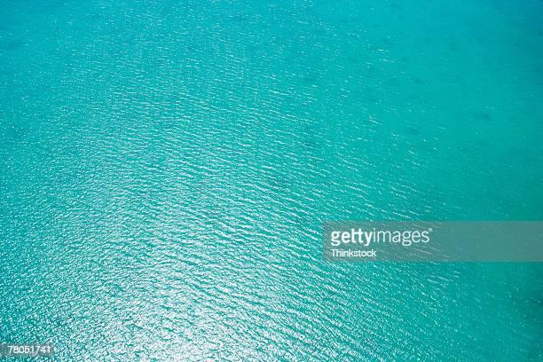 Aerial view of ocean off coast of Florida Keys
