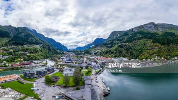 aerial view of odda city, norway - verwaltungsbezirk buskerud stock-fotos und bilder