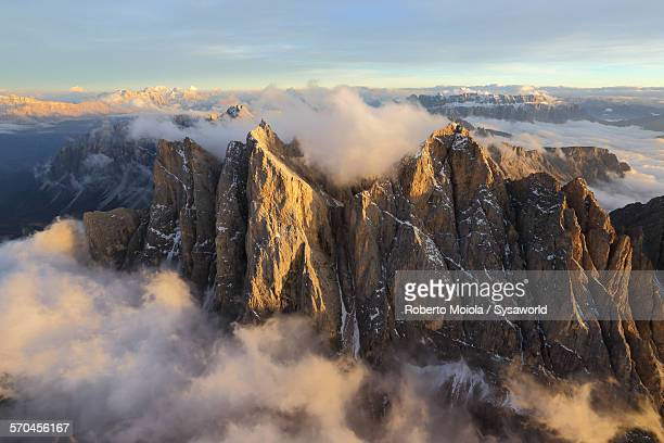 Aerial view of Odle Dolomites Italy