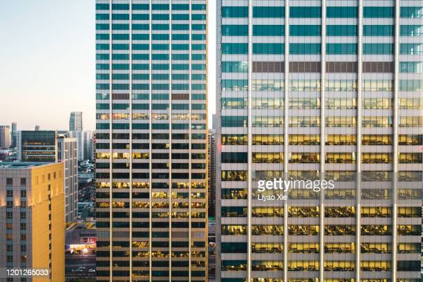 aerial view of office building - 996 working hour system stock pictures, royalty-free photos & images