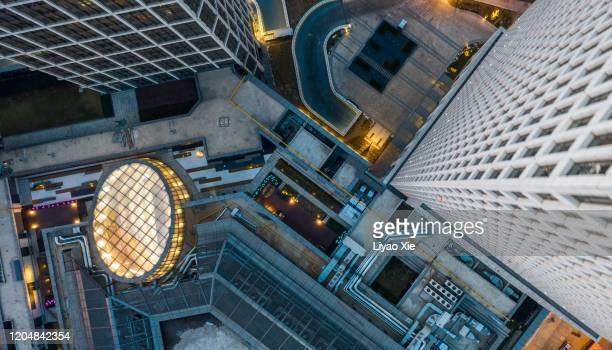 aerial view of office buildings - liyao xie fotografías e imágenes de stock