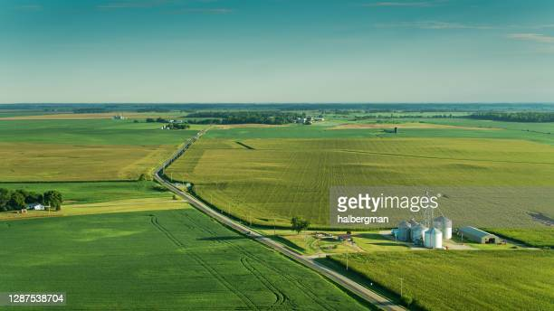 aerial view of ohio rural landscape - ohio stock pictures, royalty-free photos & images