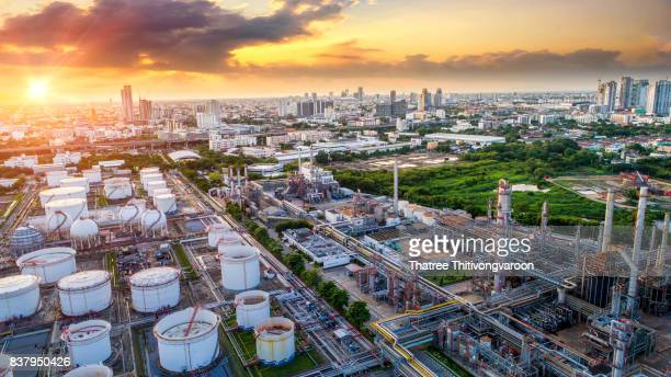 Aerial view of Oil and gas industry - refinery at sunrise, Shot from drone of Oil refinery and Petrochemical plant  , Bangkok, Thailand