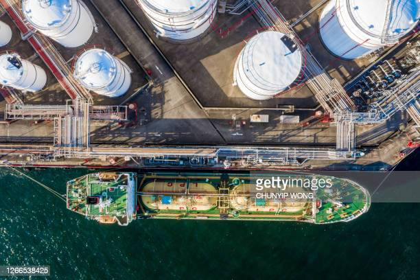 aerial view of oil refinery and fuel storage tanks - station stock pictures, royalty-free photos & images