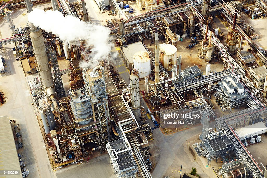Aerial view of oil refinery : Stock Photo