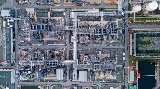 Aerial view of oil refinery Plant in evening time.