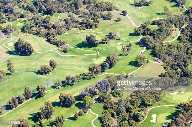 Aerial view of Ojai Valley Inn Country Club Golf Course in Ventura County, Ojai, California
