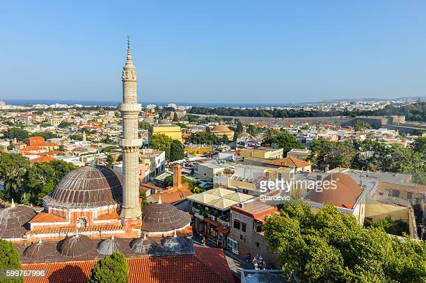 Aerial view of old center of Rhodes, Greece