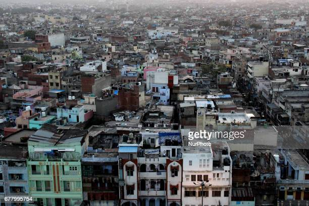 Aerial view of Old Delhi India on May 3 2017 Colorful houses and roofs as seen from the minarets of Jamia Masjid