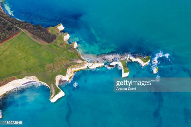 aerial view of old harry rocks, dorset, england - overhead view stock pictures, royalty-free photos & images