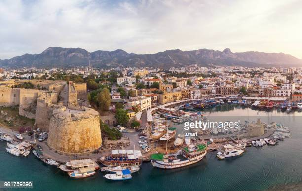 aerial view of old marina of girne (kyrenia), cyprus - cyprus island stock pictures, royalty-free photos & images