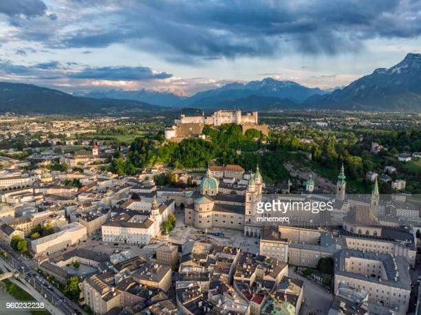 aerial view of old salzburg - salzburger land stock pictures, royalty-free photos & images