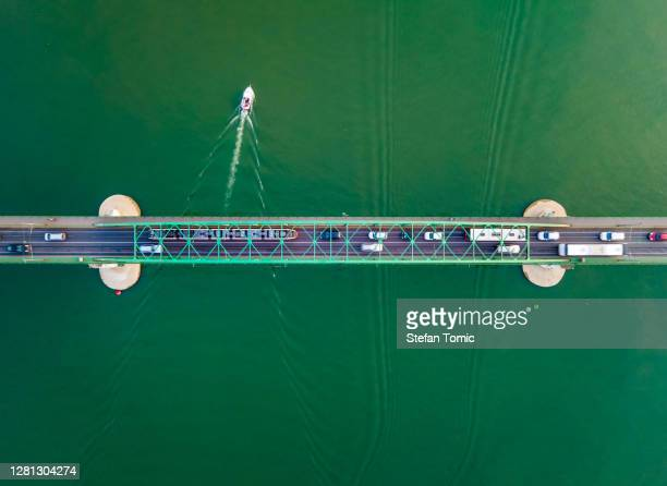 aerial view of old sava bridge in belgrade the capital city of serbia - serbia stock pictures, royalty-free photos & images