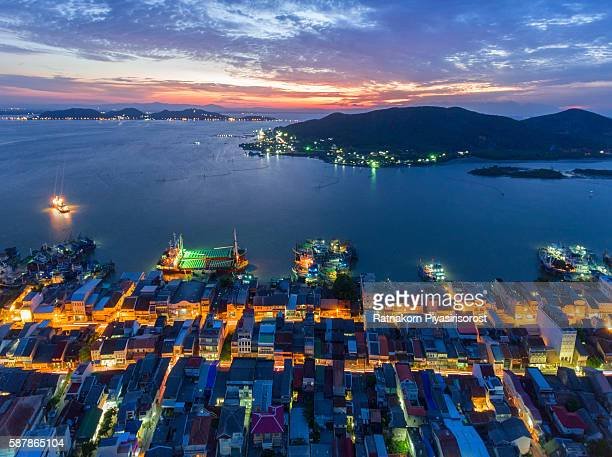 Aerial View of Old town in Songkhla at Night Time, Thailand
