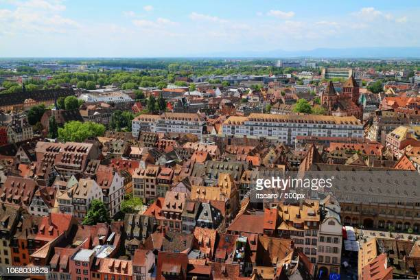 aerial view of old town of strasbourg - strasbourg stock pictures, royalty-free photos & images