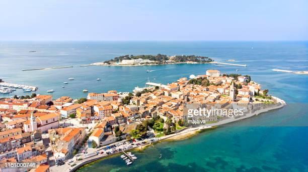 Aerial view  of old town Porec, Istria, Croatia