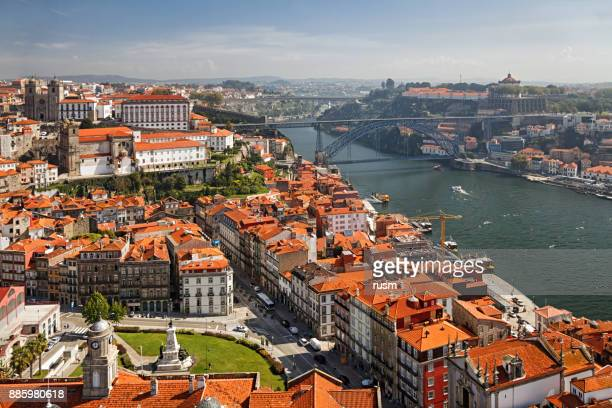 Aerial view of old town Porto, Portugal