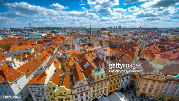 aerial view of old town square in prague, czech republic - チェコ共和国 ストックフォトと画像