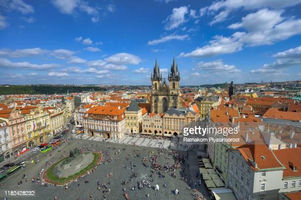 aerial view of old town square in prague, czech republic - プラハ 旧市街広場 ストックフォトと画像