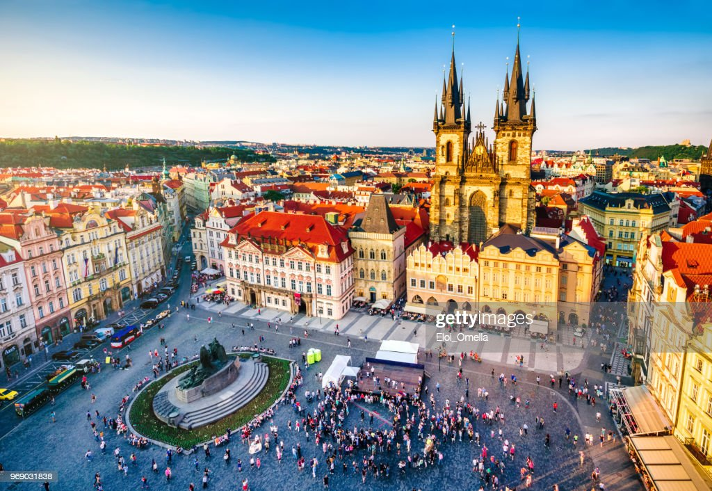 aerial view of old town square in Prague : Stock Photo