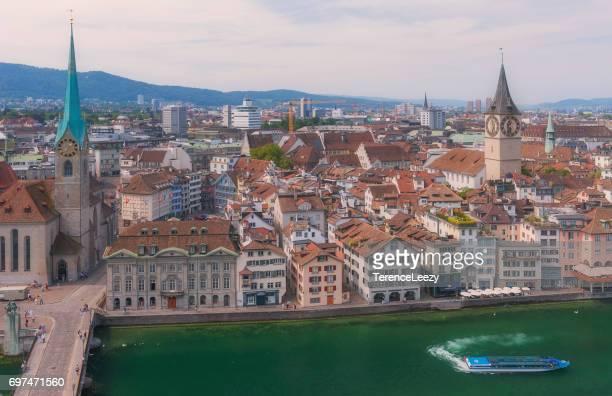 Aerial View of Old Town Zurich, Switzerland