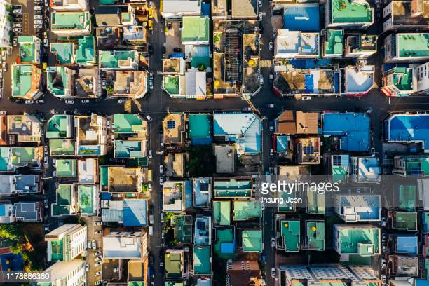 aerial view of old ulsan residential area - korea stock pictures, royalty-free photos & images
