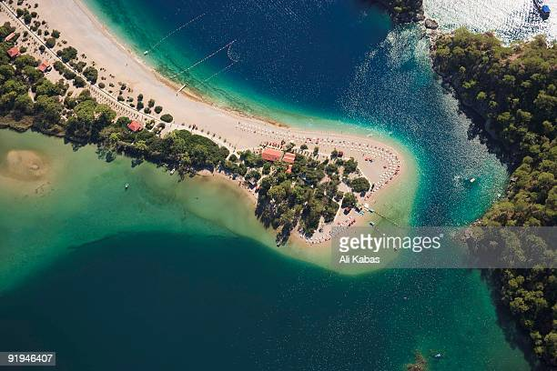 aerial view of oludeniz, fethiye, turkey - ali kabas stock pictures, royalty-free photos & images