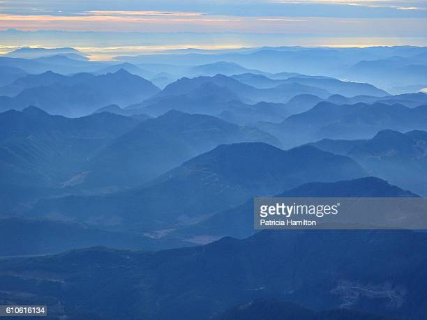 Aerial view of Olympic mountains at dawn