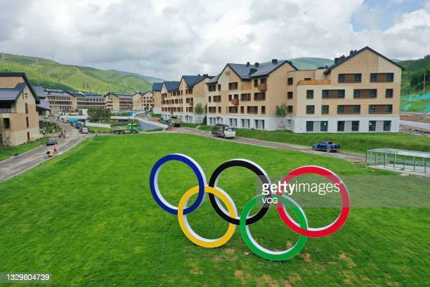 Aerial view of Olympic rings at Zhangjiakou Winter Olympic Village in Chongli district on July 19, 2021 in Zhangjiakou, Hebei Province of China....