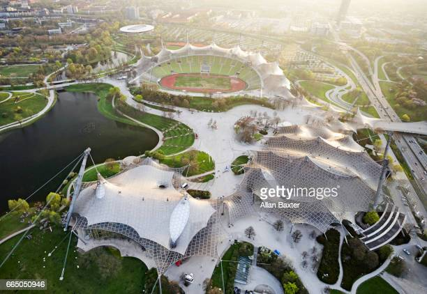 Aerial view of Olympic Stadium of Munich at dusk