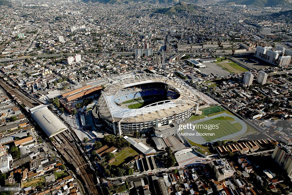 Aerial view of Olympic Stadium with nearly one year to go to the Rio 2016 Olympic Games on July 21, 2015 in Rio de Janeiro, Brazil. The stadium will host the athletics competition during the Rio 2016 Olympic Games.