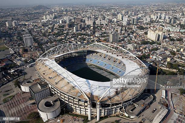 Aerial view of Olympic Stadium with one year to go to the Rio 2016 Olympic Games on August 5 2015 in Rio de Janeiro Brazil