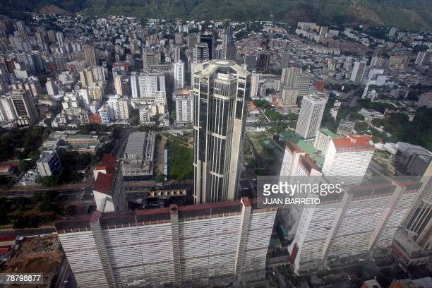 Aerial view of one of the Parque Central towers the highest buildings in the city in Caracas 05 January 2008 AFP PHOTO/Juan BARRETO