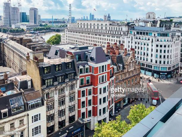Aerial view of one of the streets of London from a terrace (Westminster - Embankment)