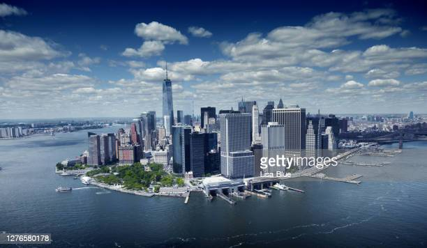 aerial view of one world trade center, nyc. - lower manhattan stock pictures, royalty-free photos & images