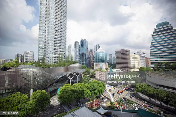 aerial view of orchard road, singapore - orchard road fotografías e imágenes de stock
