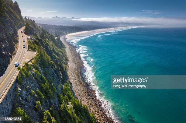 aerial view of oregon coast - pacific ocean stock pictures, royalty-free photos & images