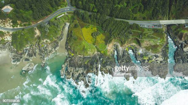 aerial view of oregon coast - oregon coast stock pictures, royalty-free photos & images