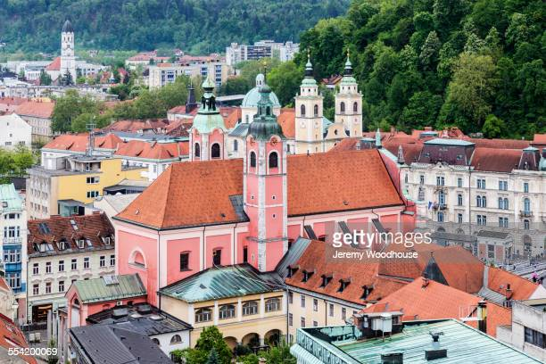 aerial view of ornate buildings in ljubljana cityscape, slovenia - リュブリャナ ストックフォトと画像
