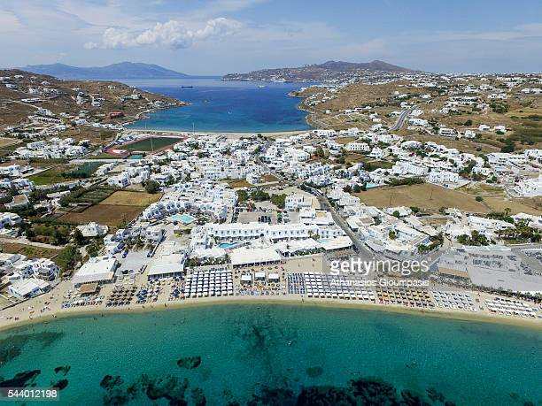 Aerial view of Ornos beach on May 19 2016 in Mykonos Greece
