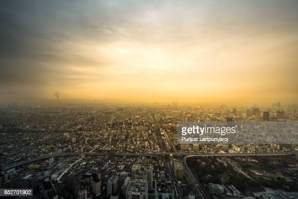 Aerial view of Osaka city in Japan