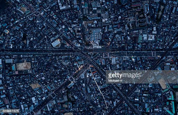 aerial view of osaka, japan - 大阪市 ストックフォトと画像
