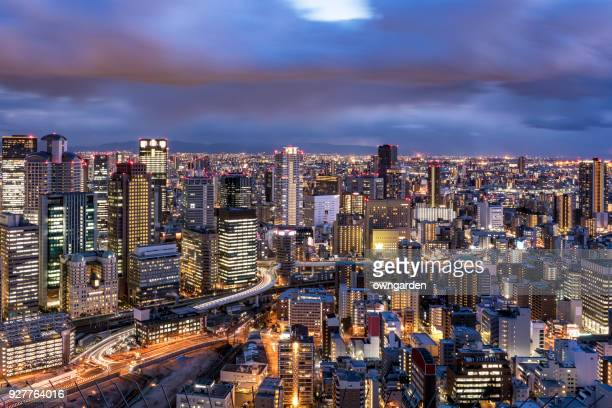 Aerial view of Osaka Skyline at sunset