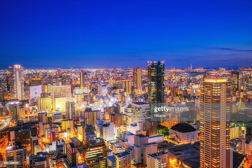 Luftbild von Skyline von Osaka : Stock-Foto