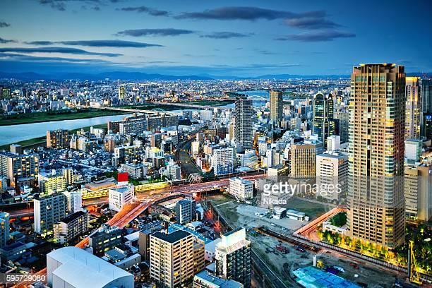 の航空写真大阪の街並み