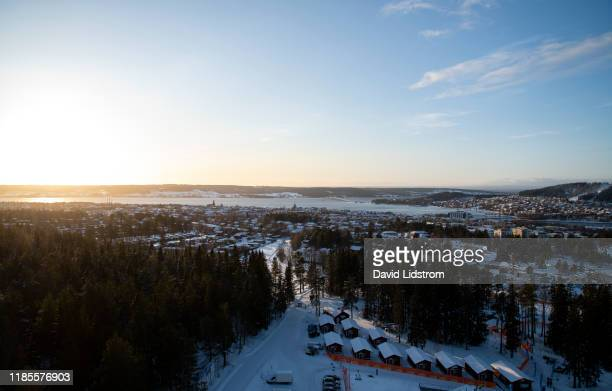 Aerial view of Ostersund ahead of the Single Mixed Relay at the BMW IBU World Cup Biathlon Oestersund at Swedish National Biathlon Arena on November...