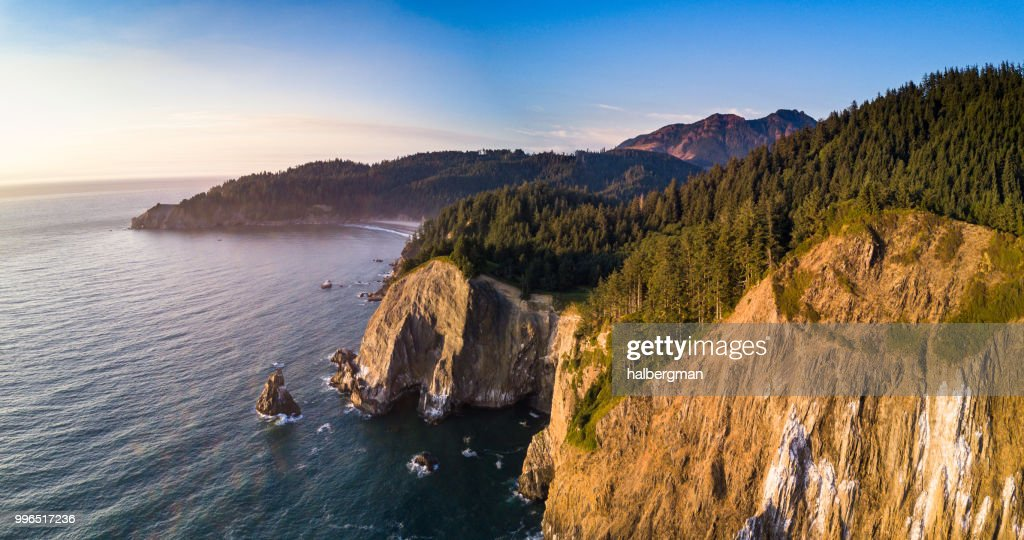 Aerial View of Oswald West State Park from the Ocean : Stock Photo
